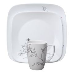 Corelle Royal Lines 16 Piece Dinnerware Set Square Dinnerware Set, Dinnerware Sets, Serveware, Tableware, Shopping World, Red Dots, Easy To Use, Best Brand, Drinkware
