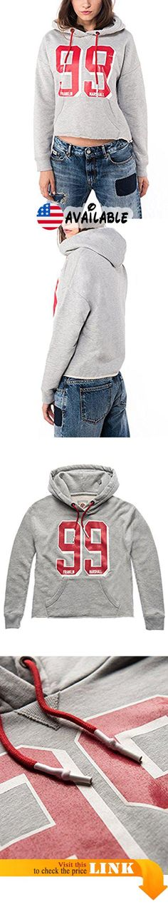 Franklin & Marshall Women's Women's Grey Melange Sweatshirt in Size L Grey. waisted denim trousers or leggings and a pair of sneakers.. Hooded sweatshirt with print. Composition: 100% Cotton. Color: Grey melange. Front pocket #Apparel #SWEATER