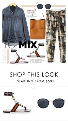 """""""Dare To Mix"""" by beebeely-look ❤ liked on Polyvore featuring Fendi, Linda Farrow, StreetStyle, pants, sammydress, denimshirt and patternmixing"""