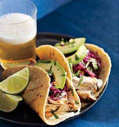 Tequila-Lime Mahi mahi Tacos--yummy. Hubby just went deep-sea fishing in Ocean City, MD and landed a mahi mahi, so we will have fresh mahi mahi for these tacos:)