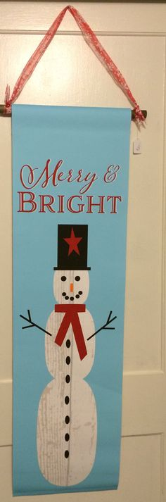 Merry & Bright With Snowman Canvas Banner, Garden Flag, Christmas Decor, Outside Christmas Decor, Secret Santa, Gift,