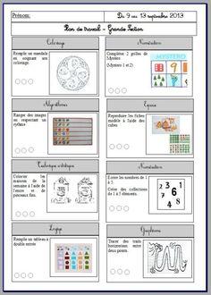 plan de travail GS School Organisation, Core French, French Education, Grande Section, File Folder Games, Learning Objectives, Preschool Kindergarten, Activities For Kids, Homeschool