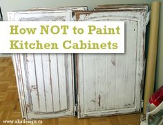 How NOT to paint kitchen cabinets - everyone tells you how to do things; sometimes you need someone to tell you what NOT to do! Unless of course you like this look wish many do. Painting Kitchen Cabinets, Kitchen Paint, Kitchen Redo, Distressed Kitchen Cabinets, How To Refinish Kitchen Cabinets, Kitchen Remodel, Cheap Kitchen, Green Kitchen, Kitchen Cupboards