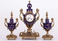 Lot 078 S46 - 19th C. French Enameled Bronze Clock Set - Est. $1500-2000 - Antique Reader