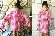DIY: Turn a XL women's shirt into a girl's dress - Life is Beautiful