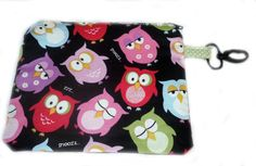 Zipper Pouch featuring  Owl Fabric and a Swivel by thenosweatshop, $10.00