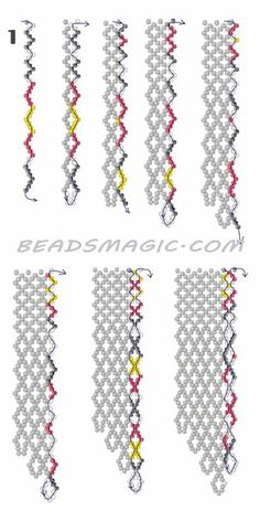 Free pattern for necklace Mexico in native style. U need : seed beads Diy Necklace Patterns, Beaded Jewelry Patterns, Beading Patterns Free, Weaving Patterns, Free Pattern, Bead Patterns, Color Patterns, Seed Bead Tutorials, Beading Tutorials