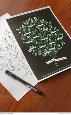 Beautifully designed Family Tree print | FREE Printable  Stationery & design: Bells & Whistles Stationery