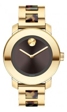 Movado | Movado Bold Mid-Size Yellow Gold Ion-plated Stainless Steel and Translucent Tortoise-tone Bracelet Watch