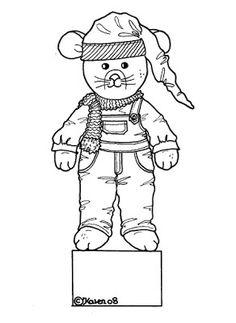 Karens Kravlenisser. Cut-outs and Colouring Pages. : Christmas Bear and Doll Decoration Figurines to Colour. Jule Bamse og dukke dekorations figurer til at farvelægge.