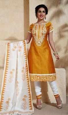 Gold Chanderi Printed Churidar Suit Price: Usa Dollar $89, British UK Pound £53, Euro66, Canada CA$97 , Indian Rs4806.
