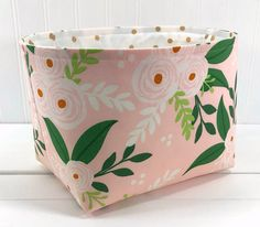 Fabric Storage Baskets, Fabric Basket, Boho Flowers, Gift Flowers, Baby Girl Nursery Decor, Nursery Grey, Nursery Storage, Pink And White Flowers, Fabric Decor