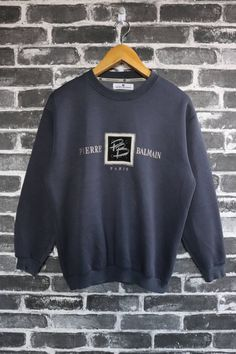 552174d60868 Pierre Balmain PARIS Vintage Sweatshirts Crew neck pullover Authentic  Runway Dark Big Box Logo Embroidery Street wear/fashion wear Size M