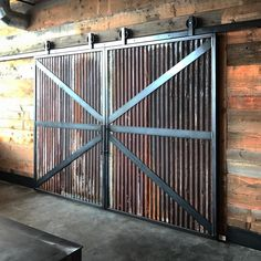 Corrugated Metal Ideas For The Home Barn Door Designs, Door Gate Design, Metal Shed, Metal Barn, Building A Barn Door, Metal Building Homes, Corrigated Metal, Corrugated Tin, Exterior Barn Doors
