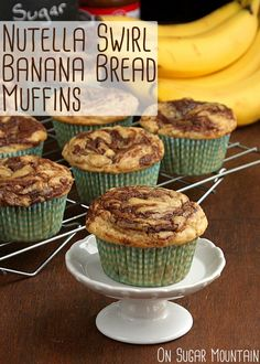Nutella Swirl Banana Bread Muffins - On Sugar Mountain : On Sugar Mountain