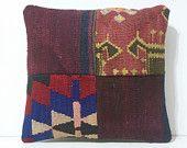 kilim pillow cute throw pillow 16x16 DECOLIC hand woven rug big couch pillow kilim floor cushion kilim cushion boho decor patchwork 15831