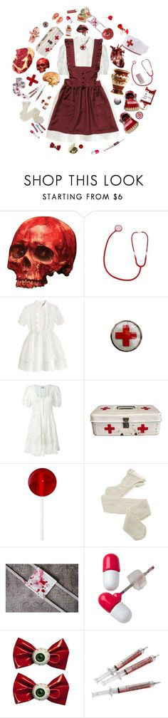 """""""Red Nurse"""" by ms-izanator ❤ liked on Polyvore featuring castro, Masquerade, To Be Adored, Yves Saint Laurent, Fogal, Kreepsville 666, Lab, Børn and vintage"""