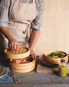 This technique uses stackable baskets to gently steam vegetables along with arctic char, a variety of fish that's closely related to salmon and trout. The fish remains flaky and moist, while the beans hold on to essential nutrients; a rich vinaigrette is Shellfish Recipes, Seafood Recipes, Bamboo Steamer Recipes, Basil Vinaigrette Recipe, Arctic Char, One Pot Chicken, Steamed Vegetables, Chicken And Dumplings, Healthy Cooking