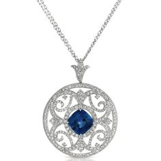 Blue Sapphire and Pave Diamond Filigree Pendant - Vanna K | Joseph Jewelry | Bellevue | Seattle | Online | Design Your Own Pendant
