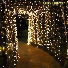 Christmas Lights Outdoor Trees, String Lights Outdoor, Xmas Lights, Solar Powered Lights, Solar Lights, Backyard Lighting, Outdoor Lighting, Outdoor Kitchen Bars, Led Fairy Lights