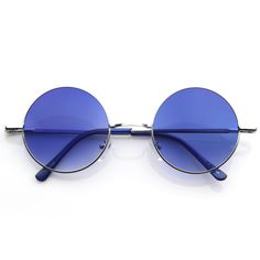 cbf9d10ca6 Retro Hippie Metal Lennon Round Color Lens Sunglasses 8594