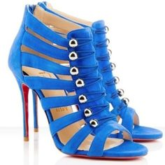 Christian Louboutin Denis 100 Cutout Suede Sandal Royal Blue by Janny Dangerous