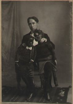 Ventriloquist Jules Vernon and his dolls. His dolls are clearly plotting against him.