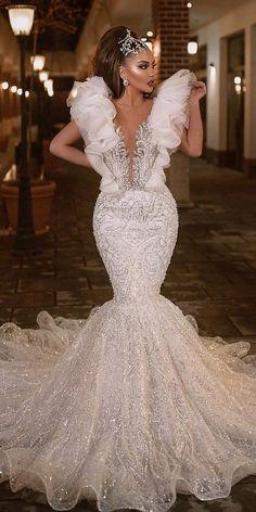 27 Chic Bridal Dresses: Styles & Silhouettes ❤ bridal dresses mermaid vintage deep v neckline jeweled albinadylaa Dream Wedding Dresses, Bridal Dresses, Wedding Gowns, Prom Dresses, Wedding Bride, Luxury Wedding Dress, Bridesmaid Dress, Formal Dresses, Elegant Dresses