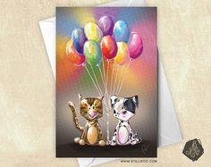 Carte de voeux Chiot et Chaton Ballons