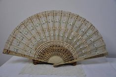 Victorian Antique 1800's French Silk Fan Large Antique