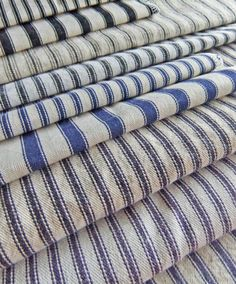 These are just a few of the classic ticking stripe fabrics I have sampled for slipcovers.  Read my reviews.