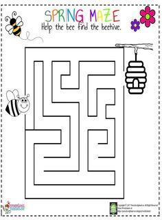 Spring Maze Worksheet For Kids