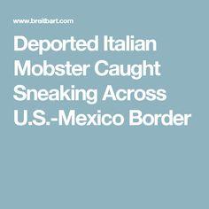 Deported Italian Mobster Caught Sneaking Across U.S.-Mexico Border