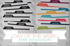 Free Days of The Week Tab Journal Cards from Feed Your Craft