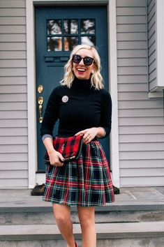 J.Crew Factory Plaid Skirt | Lemon Stripes