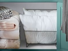 extras #HomeDecorNearMe Pillow Storage, Blanket Storage, Home Decor Near Me, Home Decor Shops, Bathroom Linen Closet, Linen Closets, Bathroom Storage, Laundry Room, Folding Fitted Sheets