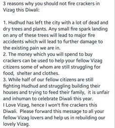 3 Reasons Why you should not fire crackers in this  #Vizag this #Diwali