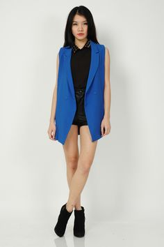 Cess Tailored Vest - Electric Blue