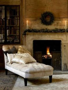 So pretty. And cozy.  I want this chaise by my Christmas tree:)