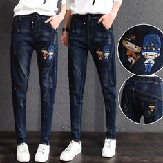 (33.91$)  Buy here - http://aip5b.worlditems.win/all/product.php?id=32775101262 - Leisure Loose fashion Cartoon embroidered jeans Elastic waistband denim harem pants cotton Elasticity jeans trousers women