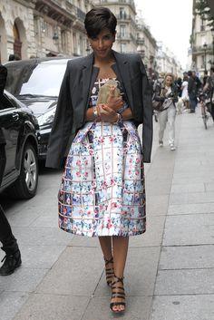 Dressed in Mary Katrantzou Resort 2014 at Paris Haute Couture Fashion Week…