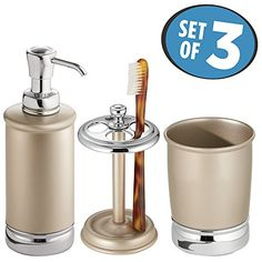 mDesign Bath Accessory Set Soap Dispenser Pump Toothbrush Holder Tumbler  3 Pieces Pearl ChampagneChrome