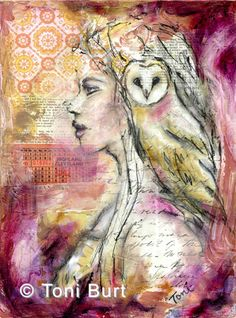 """beyond illusion"" mixed media with oil paint and oil sticks. girl with her spirit bird the owl."