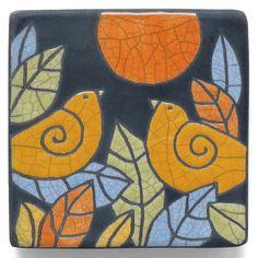 Ceramic Wall Art BirdsCeramic tilehandmade 4x4 inch by DavisVachon