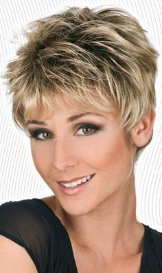Synthetic short wig by Trend European. Mono - Weft. Light, wispy layering, flattering cut. Color Shown: L130+4 and LF825 We are pleased to present the new Trend European line. Unique and exquisite ite Short Straight Hair, Short Hair Cuts For Women, Short Hairstyles For Women, Straight Hairstyles, Trending Hairstyles, Pixie Hairstyles, Pixie Haircuts, Layered Haircuts, Haircut For Older Women