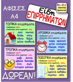 ΔΩΡΕΑΝ Αφίσες για τα Επιρρήματα – Reoulita St Joseph, Kids Education, Special Education, School Organisation, Learn Greek, Grammar Exercises, Class Rules, Greek Language, School Decorations