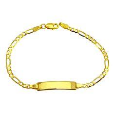 14k Gold Figaro Baby ID Bracelet