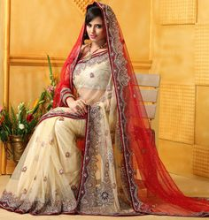USD 377.24 Cream Net Wedding Bridal Saree 48191
