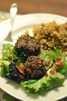 Vanishing Veggie: Quinoa Black Bean Balls with Sweet Potato Hash