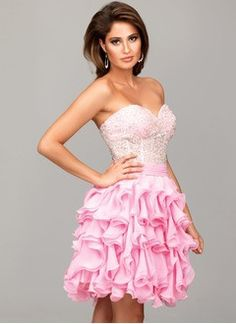 A-Line/Princess Sweetheart Knee-Length Chiffon Homecoming Dress With Beading Cascading Ruffles